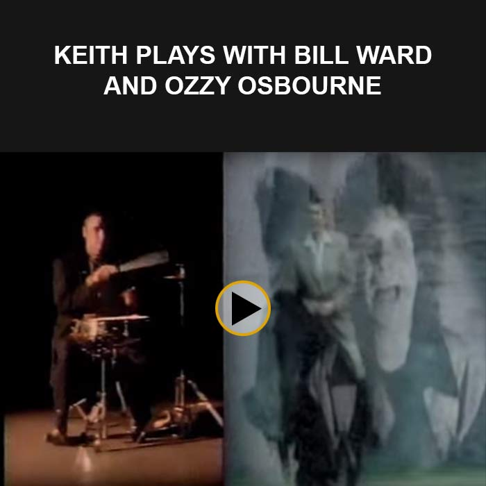 Keith Lynch playing with Bill Ward and Ozzy Osbourne